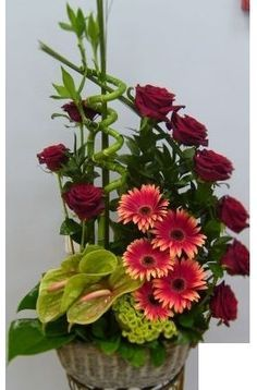 Cool Arrangement With Gerbera Daisies Roses Anthurium And Bamboo Flower Arrangements Simple Funeral Flower Arrangements Church Flower Arrangements