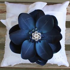 Blue Magnolia Ring Bearer Pillow by BeautifulBlossoms on Etsy, $25.00