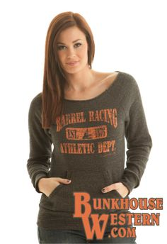 Cowgirl Tuff Co, Barrel Racing, Athletics, Orange and Charcoal Sweatshirt, $64.99, Turn and Burn, Never Give Up, http://www.bunkhousewestern.com/S00480_p/s00480.htm