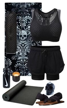 Health Goth Yoga Outfit C by blackbettyblog on Polyvore featuring sanuk, M Z Wallace, Killstar, WoodWick and NIKE