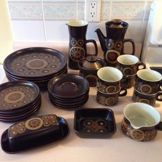 """VINTAGE MID CENTURY MODERN DENBY POTTERY """"ARABESQUE """" PATTERN (33) PIECES TOTAL in Pottery & Glass, Pottery & China, China & Dinnerware 