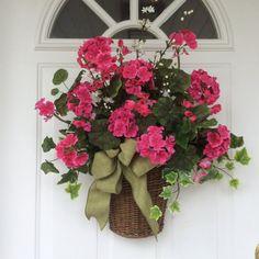 Spring Wreath-Summer Wreath-Wall Basket-Mother's Day Gift-Floral Basket-Spring Door Basket-Pink Geranium Basket-Wreath for Door