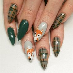 Plaid Fox Nails