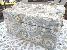 Romantic white mosaic Box by Waschbear - Frances Green, via Flickr