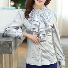 Fashionable Stand Collar Flouncing Spliced Long Sleeve Chiffon Women's Blouse