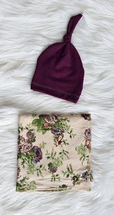Vintage Plum Swaddling Blanket and Matching by brambleandbough