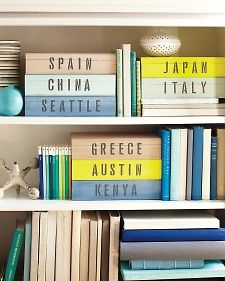 Travel Keepsake boxes.    Cute way of organizing the ticket stubs, maps, mementos from trips until/instead of scrapbooking.