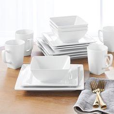 Better Homes&Gardens 16 Piece Square Dinnerware Set White Porcelain dishwasher Dinnerware Sets Walmart, Casual Dinnerware Sets, Dinnerware Sets For 12, Square Dinnerware Set, White Dinnerware, Porcelain Dinnerware, Dinnerware Ideas, White Dinner Plates, Dinner Plate Sets