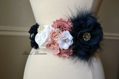 Stunning affordable bridal accessories, sashes, & more! Navy Blue Flowers, Blush Flowers, Chiffon Flowers, White Flowers, Colorful Feathers, Colorful Flowers, Newborn Photo Props, Newborn Photos, Maternity Sash