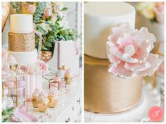 Valentine's Pink and Gold Dessert Table Photos Pink Dessert Tables, Pink Desserts, Photo Gold, Beautiful Desserts, Pink And Gold, Valentines Day, Romantic, Wedding Ideas, Table Decorations