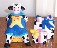 Collectible Pregnant Cow Salt and Pepper Set by Clay Art. $12.00. collectible cow S&P Set. Collectible S&P Set. Save 25% Off!