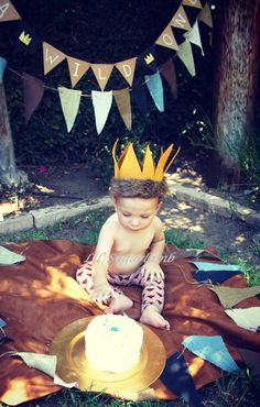 Where the Wild things are Cake Smash-Happy Birthday Matt Wild. Leggings: Lil'Sugarlamb. Crown: Nicolas and Reese on Etsy.com.