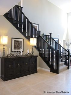 Black And White Stairs Diy Banisters 67 Ideas Black Stair Railing, Black Staircase, White Stairs, Staircase Design, Loft Railing, Open Stairs, Balcony Railing, Open Floor House Plans, Interior Stairs