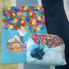 """Pencil case from Hot Topic and I painted my sketchbook cover the house from pixar """"UP"""" #pixar #up #pixarup #balloons #painting #sketchbook #hottopic #pencilcase #disney #balloonhouse"""