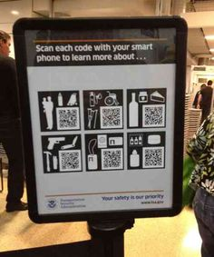 Waiting in line at airport security is boring, make it more interesting with #QR codes.