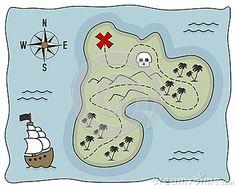 Piraten-Schatz-Insel-Karte