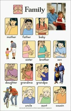 Family members in sign language
