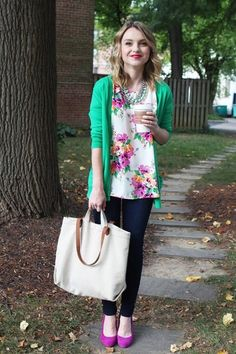 Teacher fashion: an emerald cardigan, a floral top, skinny jeans, and orchid heels.