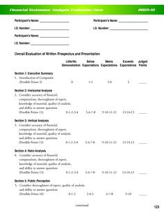 Financial Evaluation Form Financial Evaluation Form  Financial