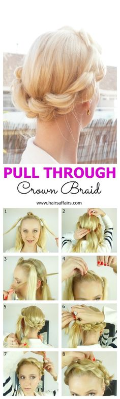 Faux Crown Braid   Pull Through Crown Braid tutorial at https://hairsaffairs.com/pull-through-crown-braid/