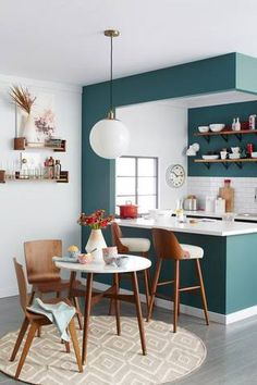 using the blue -- open shelving on wall -- on sides and underneath on side of seating
