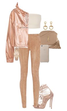 """""""Nude"""" by seventeene ❤ liked on Polyvore featuring Yves Saint Laurent, Dsquared2, Balmain, Gucci, Michael Kors, Leggings and WardrobeStaples"""