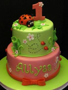 Ladybug Birthday Cake - top half cake really cute - with a little more white on it... maybe even have the top of cake white..