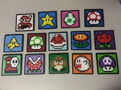 Nintendo Perler Mario (and others) Coasters or Magnets - Choose 4 Coasters Hama Beads Patterns, Beading Patterns, Mario Nintendo, Mario Bros, Super Mario, Perler Coasters, Perler Bead Mario, Perler Bead Templates, Peler Beads