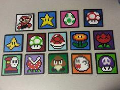 Nintendo Perler Bead Mario Coasters by jinglebells0424