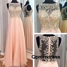 Long prom dress, homecoming dress, Pretty pink chiffon beaded prom dress for…