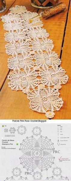 Kira scheme crochet: Scheme crochet no. Crochet Diagram, Crochet Motif, Knit Crochet, Crochet Table Runner, Crochet Tablecloth, Crochet Dollies, Crochet Flowers, Thread Crochet, Crochet Stitches