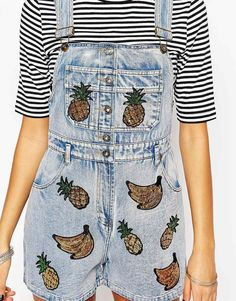 Buy Kuccia Denim Dungaree Shorts With Sequin Fruit Patches at ASOS. Get the latest trends with ASOS now. Denim Dungaree Shorts, Overalls, Denim Fashion, Fashion Pants, Womens Fashion, Salopette Short Jean, Short Court, Mode Jeans, Weird Fashion