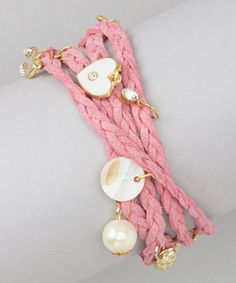 Take a look at this Light Pink Wrap-Around Charm Bracelet by Sweet Indigo on #zulily today!