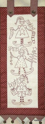 Making Spirits Bright The Birdhouse -Christmas Stitchery Pattern Christmas Embroidery, Embroidery Applique, Embroidery Patterns, Quilt Patterns, Machine Embroidery, Primitive Stitchery, Christmas Wall Hangings, Fabric Patch, Christmas Sewing