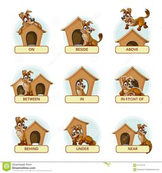 Buy Cartoon Dog In Different Poses To Illustrate by on GraphicRiver. Cartoon dog in different poses to illustrate English prepositions of place. Vector illustration for preschool kids. English Grammar For Kids, Learning English For Kids, Teaching English Grammar, English Lessons For Kids, English Worksheets For Kids, Kids English, Learn English Words, English Activities, English Language Learning