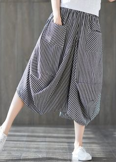 2019 new cotton linen literary striped skirt casual irregular thin section natural waist Casual Work Outfits, Casual Skirts, Indian Fashion Dresses, Fashion Outfits, Batik Dress, Plus Size Pants, Stripe Skirt, Pants Pattern, Short Dresses