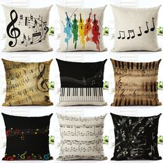 Cheap cushion cover, Buy Quality decorative cushion covers directly from China cushion cover pillow case Suppliers: Music Series Note Printed High Qulity Cotton Linen Decorative Cushion Cover Pillow Case Car Seat Pillowcase Linen Sofa, Linen Pillows, Sofa Pillows, Throw Pillows, Couch Sofa, Handmade Cushion Covers, Decorative Pillow Cases, Decorative Cushions, Music Decor