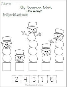 Silly Snowman Math Numbers Worksheet - Madebyteachers Free winter math worksheet for number recognition practice. Count the snowballs in each snowman, then cut and paste the number that matches. Find more winter math worksheets for Kindergarten an Free Math Worksheets, Kindergarten Math Worksheets, Preschool Activities, Math Math, Printable Worksheets, Math Games, January Preschool Themes, Cut And Paste Worksheets, Matching Worksheets