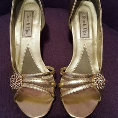 Gold Strappy Peep Toe Heels with Vintage Broach Worn a few times to weddings. Heels have wear and backs have a few scuffs. They definitely have more life in them though. Touch Ups Shoes Heels