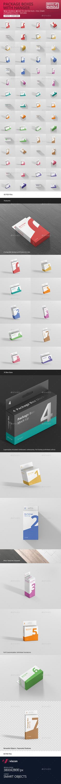 Box Mockup Bundle - with Hanger by visconbiz 60 Photorealistic high quality package box mockup with hanger in 10 different box sizes. Great for packaging design, portfolio, sh