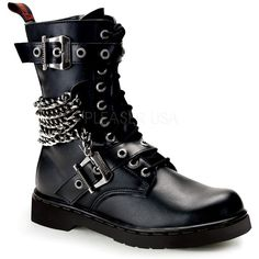 Demonia Defiant 204 Black Leather Look Lace Up Calf Boots with Chains (£114) ❤ liked on Polyvore featuring shoes, boots, vegan boots, goth boots, black goth boots, faux-leather boots and black gothic boots