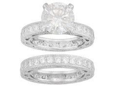 Charles Winston For Bella Luce (R) 8.82ctw Rhodium Plated Sterling Silver Ring With Band