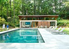 Nancy Creek Guesthouse and Pool - modern - Pool - Atlanta - Philip Babb Architect