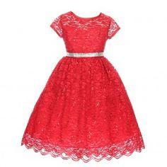 Good Girl Little Girls Red Lace Glitter Waist Flower Girl Dress 2-6