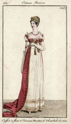 A lovely white gown with a red overdress. Historical Costume, Historical Clothing, Jane Austen, Regency Dress, Regency Era, Victorian Fashion, Vintage Fashion, Jean Délavé, Mode Costume