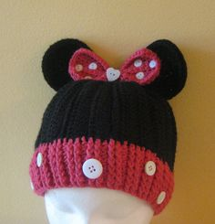 Crocheted Minnie Mouse Hat Toddler/ Kids by Hummingbirdcrochet, $25.00  Show this to my cousin Jerre L. she could make it~
