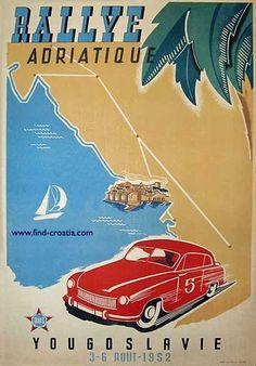 vintage poster Dubrovnik at Rallye Adriatique 1952