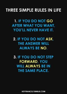 3 Simple Rules in Life.