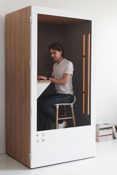 Soundproof phone booth for the open office Office Cube, Office Pods, Office Fit Out, White Office, Open Office, Office Workspace, Office Cubicle Design, Workplace Design, Office Interior Design
