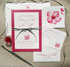 pink tropical hibiscus bloom wedding invitations  I love the color blocking idea.  Looks great!